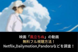 【風立ちぬ】フル動画を無料視聴する方法!Netflix,Dailymotion,Pandoraでの配信は?